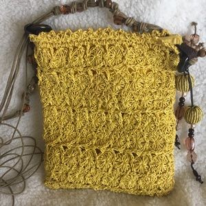 Blue Miami Yellow Straw Shoulder Bag